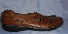 Women's Brown Leather CLARKS Loafers Size 11 N GREAT Condition
