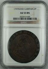 1797 Soho Great Britain 2p Half Groat Copper Coin NGC AU-53 BN Brown AKR
