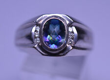 MEN'S 14K WHITE GOLD OVAL MYSTIC TOPAZ AND DIAMOND RING 10.7 GRAMS SIZE 8.5