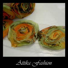 Colourful Spring ROSETTE Chiffon LACE TRIM Shimmering Ends × 1y 12 Large Flowers