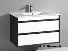 DarK Frame Wall Hung Vanity with Ceramic Basin and Soft Closing Drawer 600mm