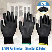 12x Pu Coated Gloves Gardening Work Builders Safety Nylon Black Mechanic Grip