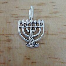 Sterling Silver TINY 16x10mm Jewish 7 Lamp Temple Menorah Charm