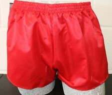 Retro Nylon Satin Football Shorts S to 4XL, Plain Red