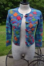 Petites MICHAEL SIMON Sz P/P Blue Teal l/s Striped Fish Cardigan Sweater