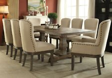 Landon 9 pc Formal Dining Set Pedestal Table Distressed Rustic Wood Fabric Chair