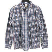 Lucky Brand Slim Fit Button Front Shirt Men's XL Blue Plaid Long Sleeve Cotton