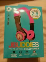 New JBuddies Kids Folding Volume Limited Headphones, Black/Pink ages 2-8