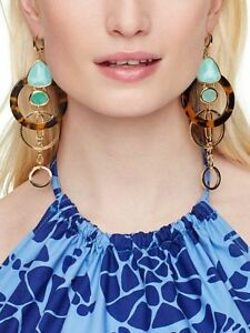 NWT KATE Spade Sun Kissed Sparkle Statement Earrings mother of pearl AQUA SHELL