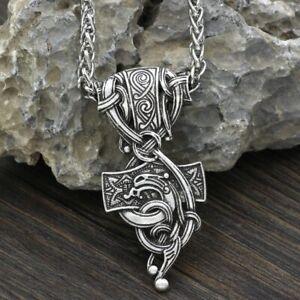 Edelstahl Wikinger Halskette Anhänger Mjölnir Thor Hammer Schmuck Geschenk Odin