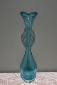 Large Aseda Hand Made Art Glass Specimen Vase - Petal Rim - Blue - 33cm - Vgc