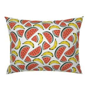 Watermelon + Banana Fruit Kitchen Home Summer Decor Pillow Sham by Roostery