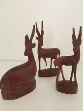 Three Wooden Carved 1960s Deer / Antelope - Vintage Retro Mid Century Modern