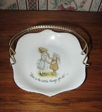 VINTAGE 1973 HOLLY HOBBIE PLATE DISH LOVE IS THE LITTLE THINGS YOU DO; w HANDLE