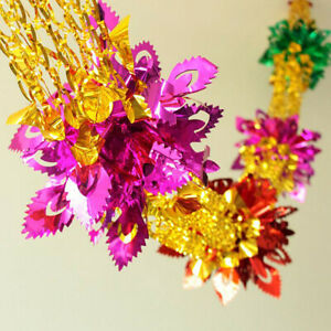 2Pcs Large Multi Colour Foil Ceiling Garland Christmas Hanging Xmas Decorations
