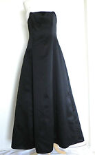 Jump Apparel Dress Black Satin with White Trim Size M Princess Cut A-line