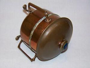 FINE ANTIQUE ARTS & CRAFTS COPPER TEA CADDY BOX TOBACCO JAR WITH RUSKIN CABOCHON