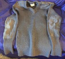 BG885 Vtg British Military Surplus Combat Sweater V-Neck Pullover Mens Size L