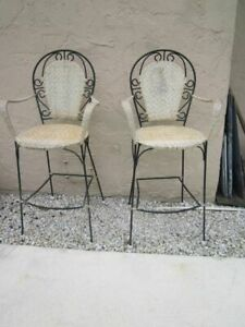 Wicker And Metal Barstool No Cushion Set of Two