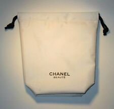 NEW Genuine CHANEL Beaute White Cosmetic Drawstring Pouch