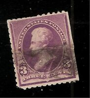 US 1892  Sc# 221 3¢  Jackson  Used -  Light Cancel - Filler