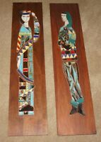 HARRIS STRONG Mid Century Modern Queen and Jester Ceramic Tile Wall Plaques