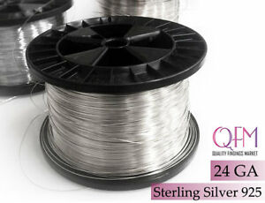 1 meter (3.28 ft) Sterling Silver 925 Wire, 24 GA (0.5mm), Silver Wire