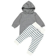 Newborn Baby Boy Girl Hooded Coat Tops+Striped Pants Legging Outfits Clothes Set