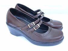 "Women's Dansko ""Babette"" Brown Leather Mary Jane heels pumps Shoes 41 (11 US)"