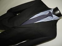 Ermenegildo Zegna Black shadow stripe men's Bespoke slim jacket coat size 42 R