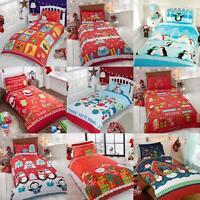 Kids Christmas Duvet Cover Set Boy Girl Toddler Santa Quilt Covers Bedding Sets