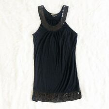GUESS Jeans Black Sleeveless Sequin Tunic Top Size Small Petite Women's