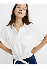 NWT Madewell Short Sleeve Tie Front Shirt In White Sz M #H9920