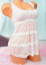 Sophie B Baby Pink Soft Sheer Nylon Lacy Sissy Sweet Camisole Nightie Slip sz S
