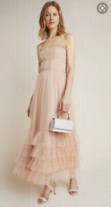 Anthropologie  Graciela Tiered Tulle Maxi Dress size 8 new nwt