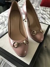 Authentic NWT Gucci Malaga Kid Carmine Rose Women Leather Shoes Size 8