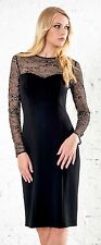 DRESS COCKTAIL ELEGANT LACE SLEEVE PARTY EVENING BLACK MADE IN EUROPE S M L XL