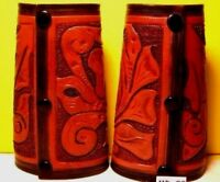 Texas PRISON CUSTOM HAND FLORAL TOOLED Leather Youth Cuffs VINTAGE