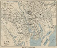 CARDIFF vintage city town plan. Wales. WARD LOCK 1950 old vintage map chart