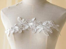 Off White Embroidery Bridal Dress Motif Flowers Costume Lace Applique 1 Pair