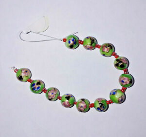 12 Vintage Porcelain 8mm Flower Beads handpainted