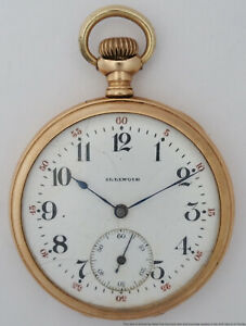 Antique 17J Illinois Heavy Gold Filled Swing Out Case Mens 12s Pocket Watch