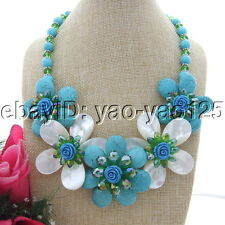 S092811 Turquoise Shell Crystal Flower Necklace