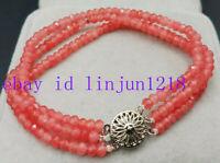 3 Row 2x4mm Natural Pink Rhodochrosite Faceted Beads Gemstone Bracelet 7.5'' AAA