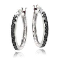 925 Silver 1/4ct Black Diamond 20mm Hoop Earrings