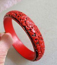 Vintage Chinese Carved Cinnabar Bangle Bracelet