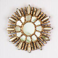 "Peruvian Gold Sunburst Mirror 7.8"", Ornate Accent Round Mirror for wall decor"