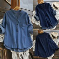 Belle Femme Denim Jean Col V Manche longue Casual Loose Tops Haut Shirt Plus
