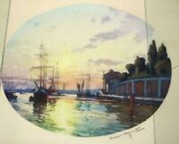 French Casimir Raymond (1870-1955) signed Watercolor Of Sailing Ships
