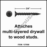 2000 8x3 Phillips Bugle Head Coarse Thread Black Drywall Screw #137971